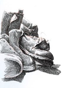 Shoes and Boots - pen and ink sketch by Barry Coombs - Fall Tuesdays-Week Seven