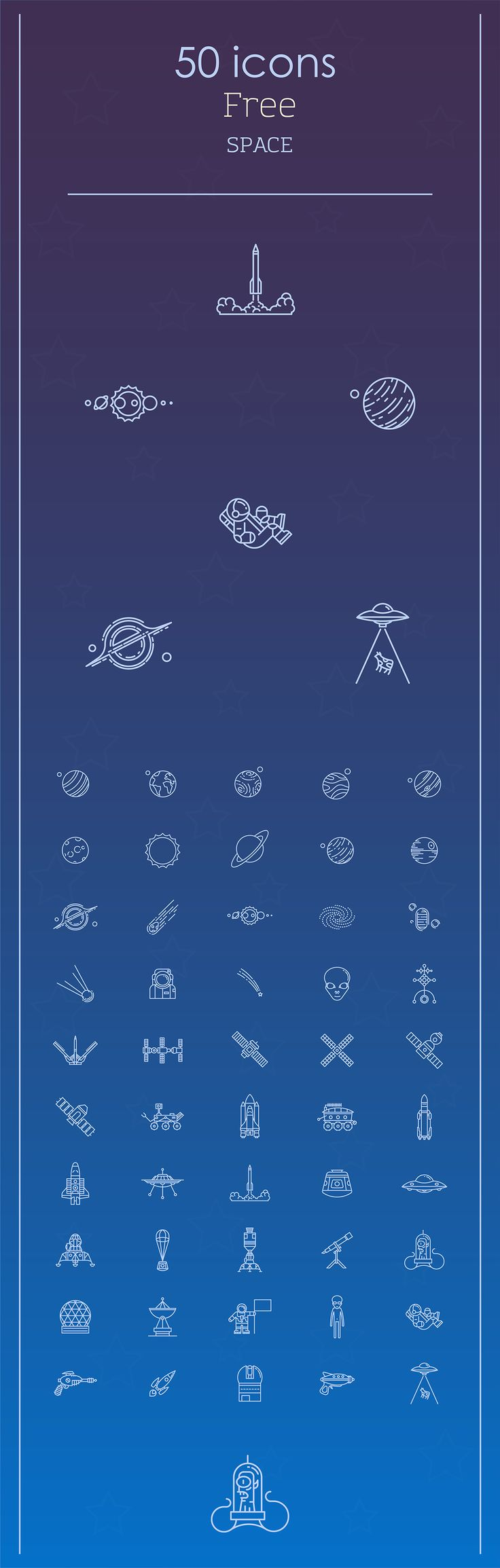 Space icons set on Behance 122 best