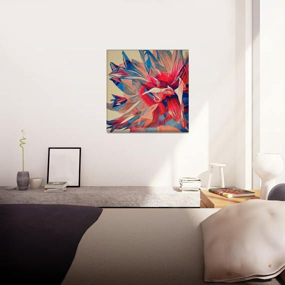 Red and Blue Wall Art Housewarming Gift Painting Flower
