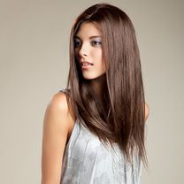 'Mandy' fully hand tied human hair wig, available in over a dozen different colors. 18'' in length. Color shown: L2