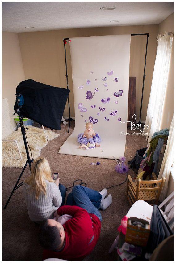Cake smash backdrop - purple butterflies $20