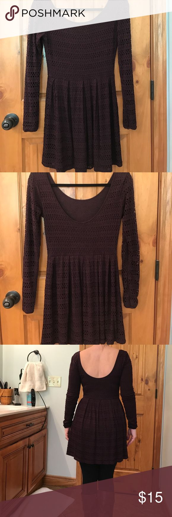 Petite Dress This dress is labeled small but definitely needs someone petite to wear it. I like it with leggings and boots. The color is a dark purple with eyelet detail over the lining. Eight Sixty Dresses Long Sleeve