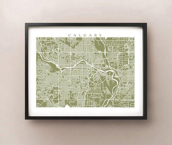 Calgary Map Art  Alberta Poster Print by CartoCreative on Etsy, $20.00