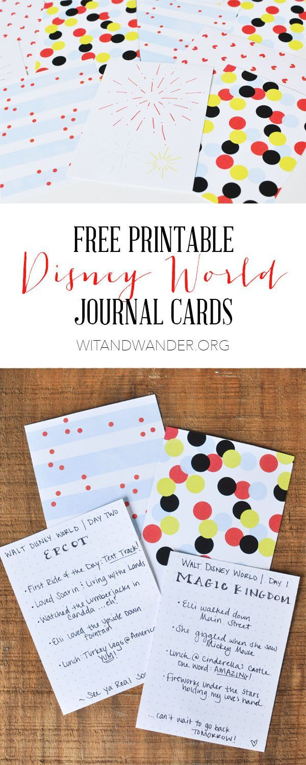 Free Printable Disney World Journal Cards  Record your memories each day to put in a journal or scrapbook when you get home from your trip. These would also be sweet note cards or gift tags for Tinkerbell Gifts!