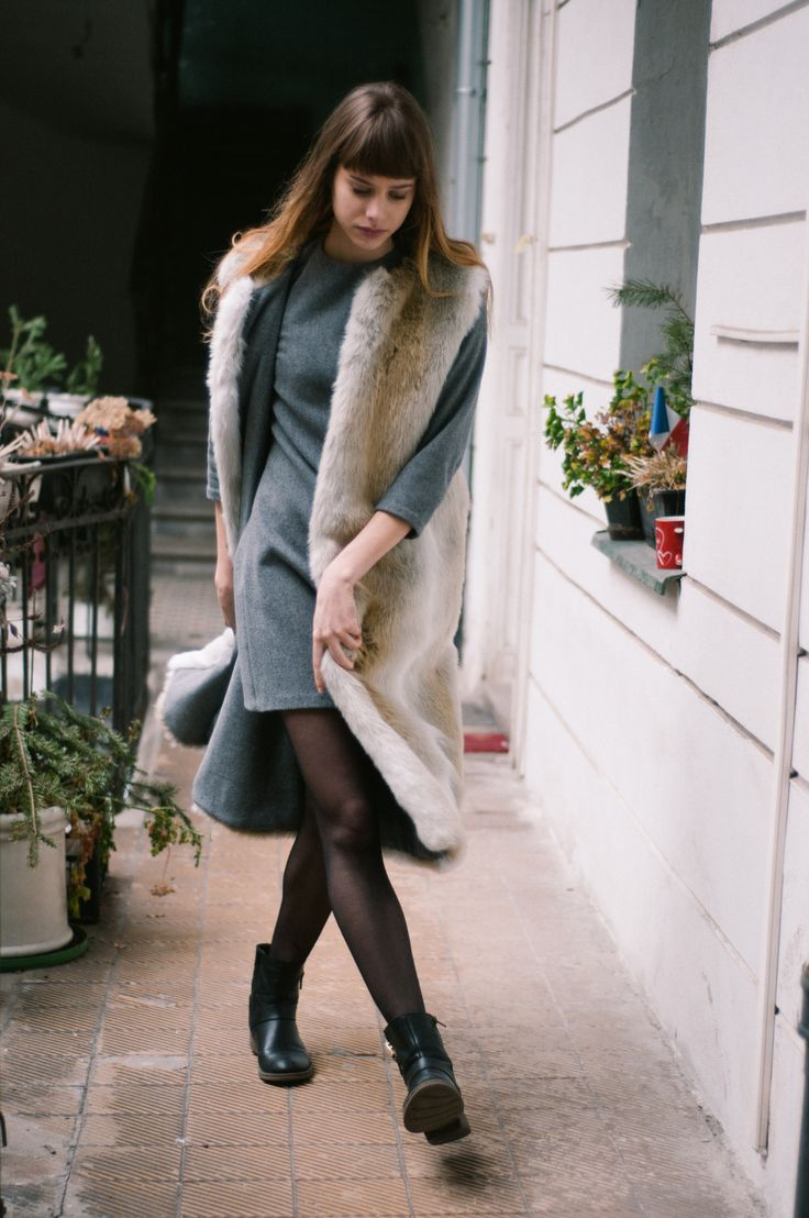 Grétka is wearing a wool & cashmere dress and wool & cashmere / faux fur reversible vest, that will be a part of the new collection. Shop here: http://meandm.bigcartel.com/