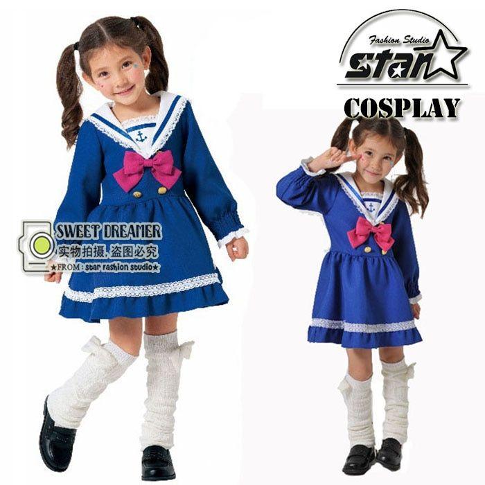 b0acc992e8953 Japanese Preppy Style Kids Girl Sailor Moon Cosplay Bowknot Dress ...