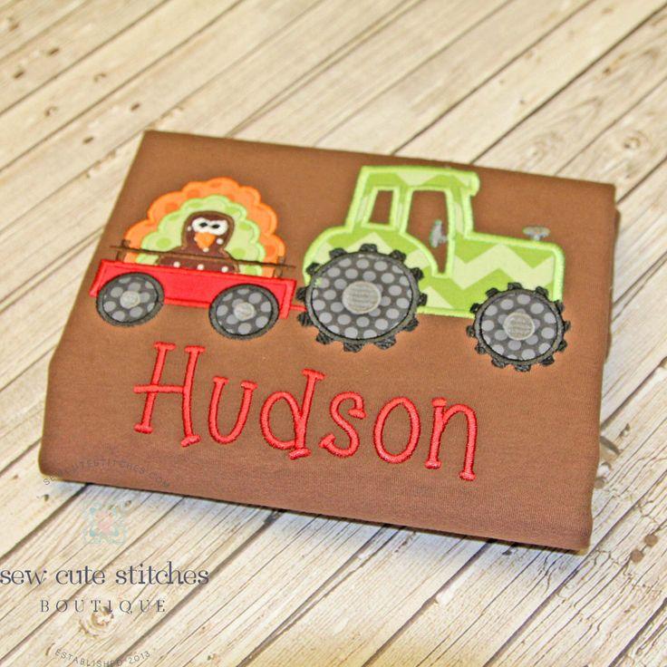 Boys Embroidered Tractor Hauling Turkey Shirt - Boys Thanksgiving Shirt - Boys…
