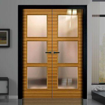 Sanrafael Lisa Glazed Double Door - L62VA4 Reconstituted Zebrano High Gloss Prefinished. #highglassdoors #zebranodoors #zebranopglazeddoors