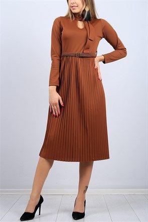 b33e3226992ce Yaka Detay Etek Pileli Taba Bayan Elbise 9734B | Elbise Modelleri ...