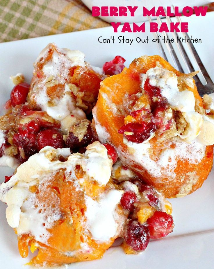 Berry Mallow Yam Bake uses sweet potatoes, cranberries, marshmallows in a wonderful oatmeal-brown sugar streusel-type sauce. Great holiday casserole.