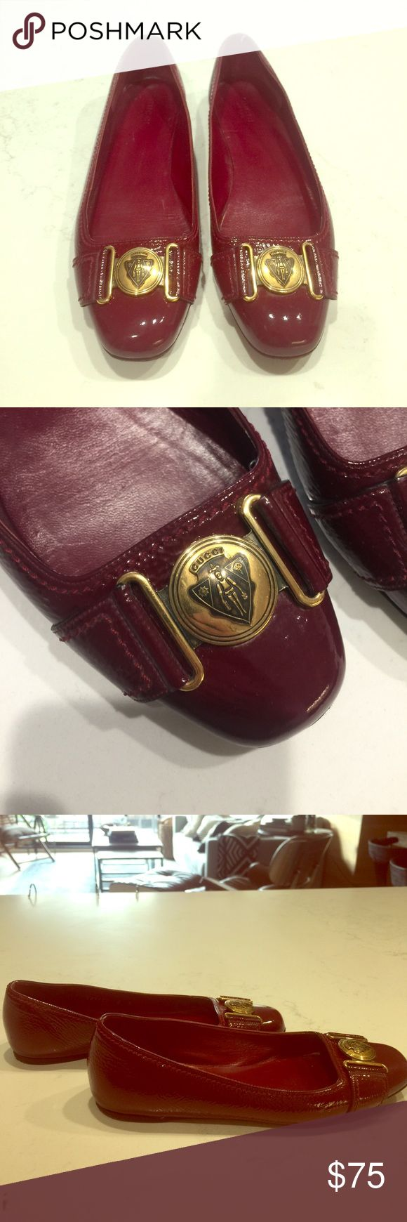 GUCCI FLATS - vintage Red patent leather Gucci flats Gucci Shoes Flats & Loafers