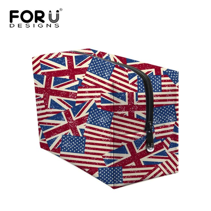 Big Size Vintage Women Makeup Bags UK USA Flag Print Zipper Cosmetic Case Simple Casual Girl Lady Pouch Storage Travel Organizer
