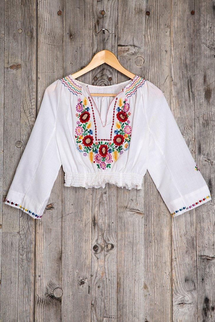 Vintage Bonita Embroidered Cropped Top