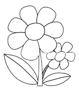 kleurplaat: grote bloem