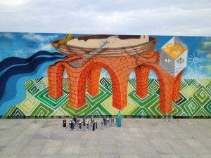 O operă de artă stradală de 300 de metri pătrați pe gardul centrului comercial ParkLake - Agentia de carte