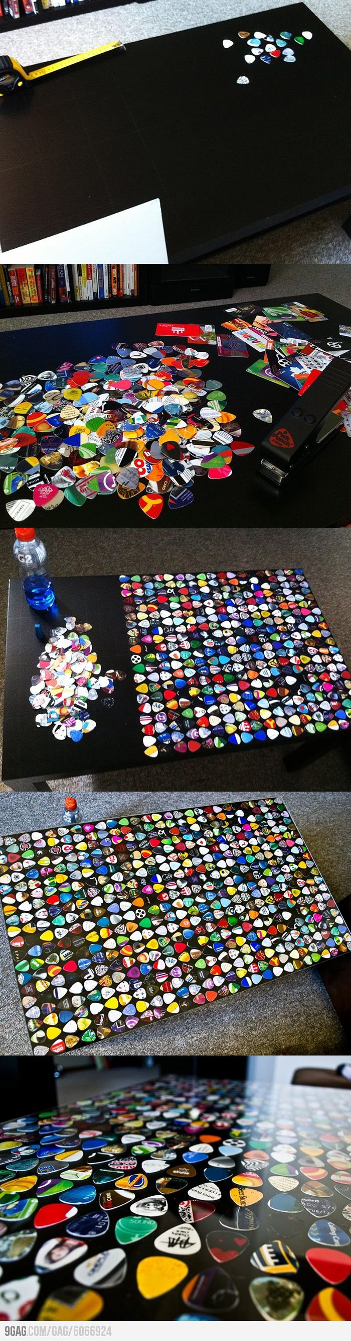 DIY- What to do with that old Ikea Coffee Table!!! Make it an Awesome guitar pick table! ohh ya!!... make ur own picks too! so you can save a few bucks!