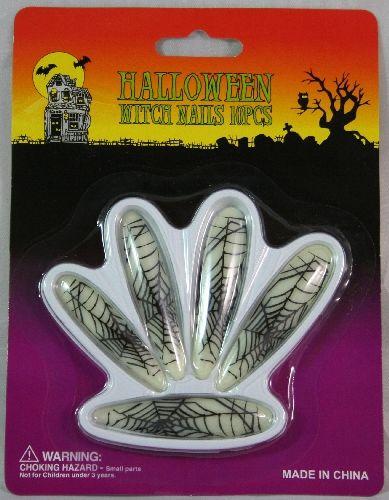 Unghie lunghe fluo decorate con ragnatela per accessorio halloween 24 PZ