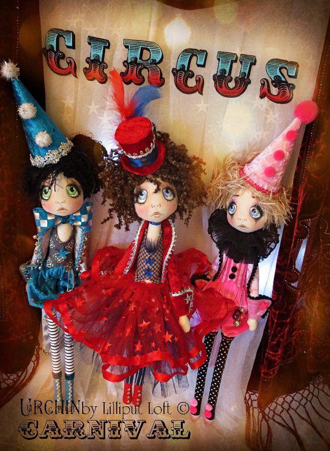 Carnival Urchin Art Dolls by Vicki at Lilliput Loft