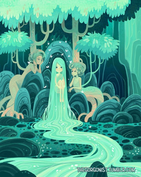 Waterval nimf 5 x 7 inch fantasy art mini print