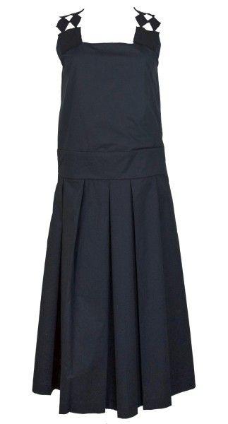 Shop Tela  Abiti: Abito lungo Tela, nero, schiena con disegno geometrico, gonna ampia.    Composizione: 100% cotone.