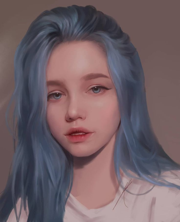 Blue Hair Cute Girl Digital Drawing Kawaii Girl Semi Realistic Art Photo Refere Blue Hair Cute Gi Blue Hair Illustration Digital Art Girl How To Draw Hair