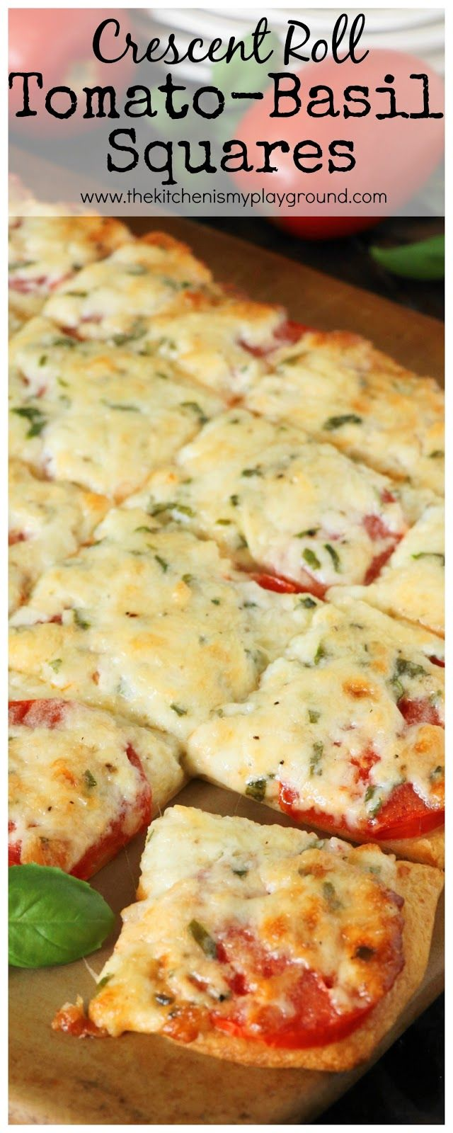 Crescent Roll Tomato-Basil Squares (sub mayo for cottage cheese)