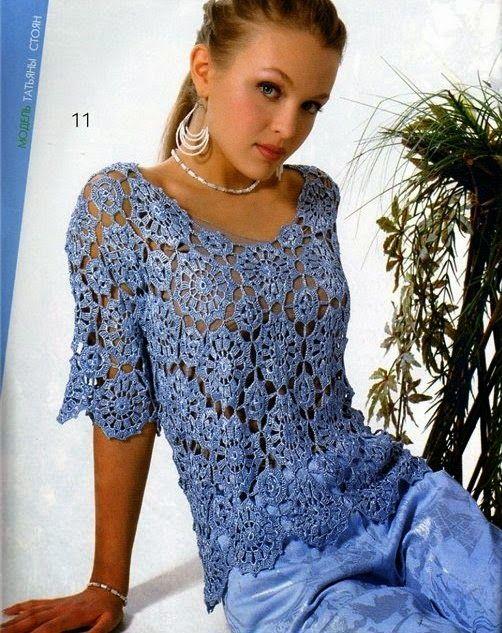 Crochet y dos agujas: Blusa ganchillo con grannys circulares