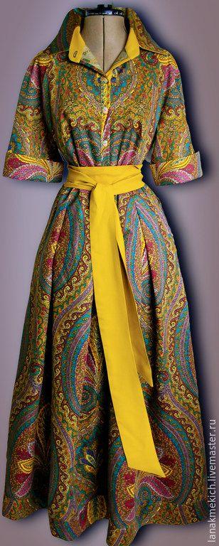 """Купить Платье-рубашка """"Орнаментальное"""" - разноцветный, пейсли, платье рубашка, платье в пол, платье на пуговицах"""
