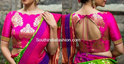 6 Beautiful Boat Neck Brocade Blouse Designs