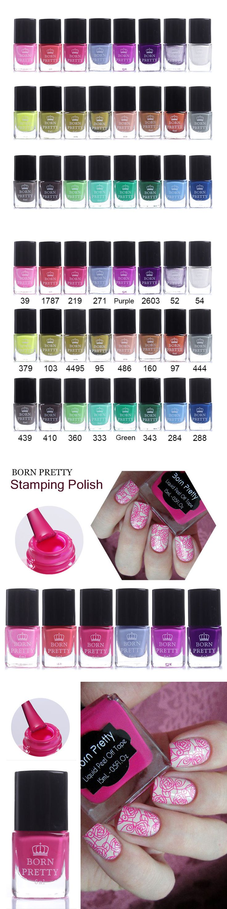Nails: Stamping Nail Polish Nail Art Stamp Plate Printing Polish 24 Colors Born Pretty -> BUY IT NOW ONLY: $32.39 on eBay!