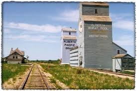 Meeting Creek AB. 38 Kilometers S. fromCamrose AB. Centinnel~Grain Elevator & Station-Depot