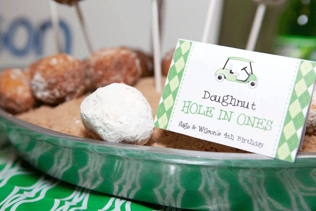"Golf party food - ""doughnut hole in ones"""