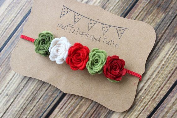 Christmas felt flower garland headband by muffintopsandtutus