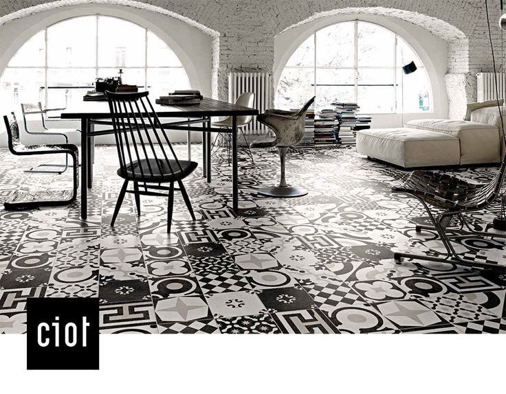 Cementine B&W 8x8  #porcelain #tile #floor #wall #interiordesign #architecture #blackandwhite #fashion #decor #square #retro #funky #contemporary #eclectic #tiles #tileaddiction #bathroom #kitchen