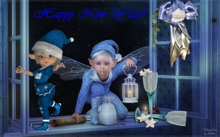 New Year Elves - elves, blue, fairy, window, new year