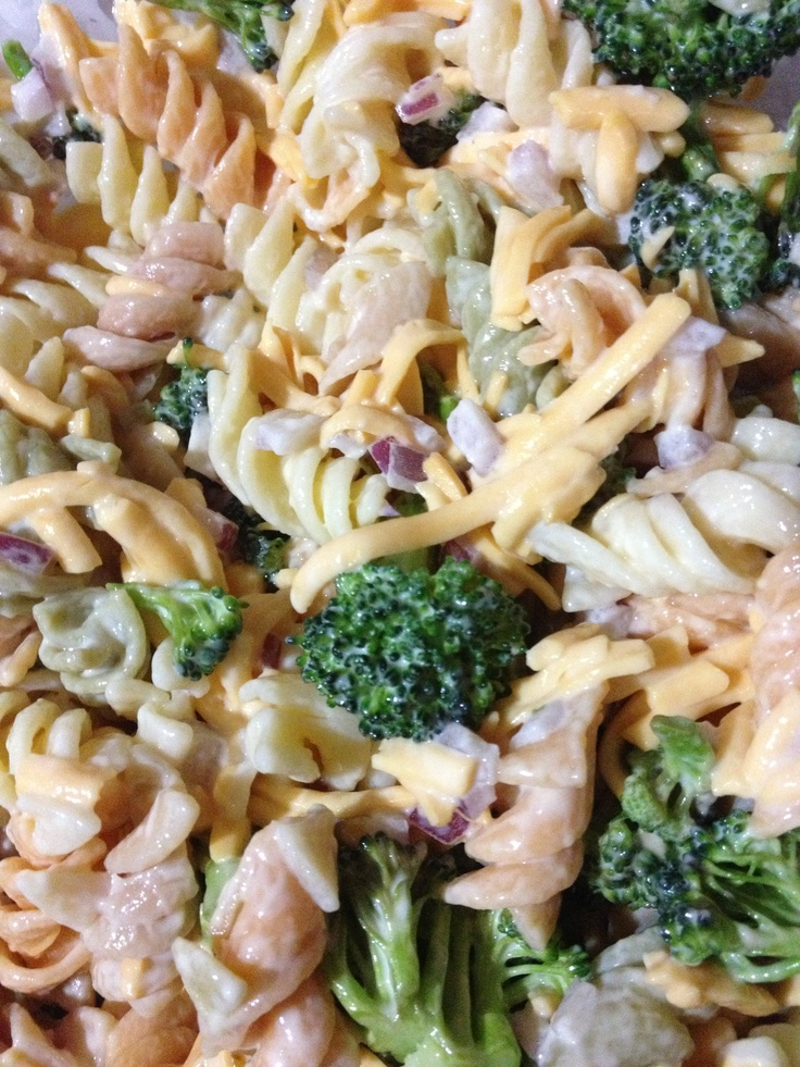 Cheddar-Broccoli-Pasta Salad: 2 cups mayo, 1 cup sugar, 1 box of tricolored pasta, 1 med red onion-chopped, 2 cups shredded cheddar cheese, 1 med head broccoli-chopped. Mix sugar and mayo, set aside. Cook pasta and drain, chill. Add remaining ingredients.