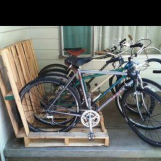 Wood Pallets used as a bike rack
