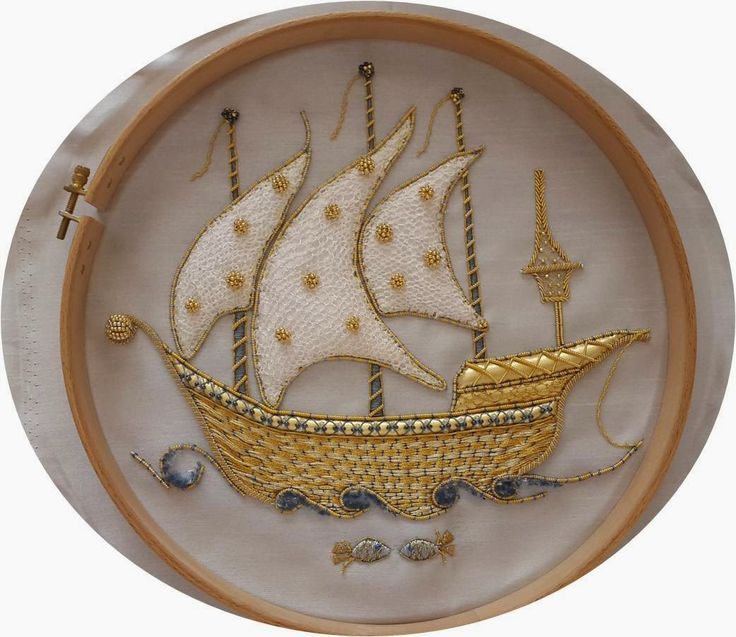 White Goldwork Ship ~ embroidery by Elizi | Hobby embroidery, cake, painting, polymer clay, design and life on everything ...: Gold Embroidery