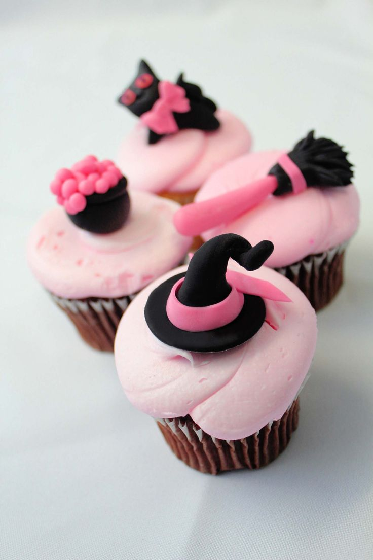 off edible fondant cupcake toppers 12 qty halloween cupcake toppers cat witch hat broom stick in pink and black