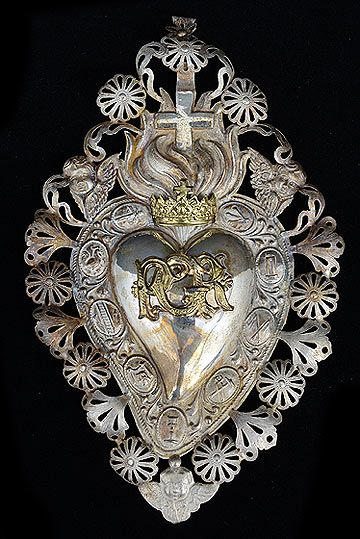 "talian Antique Silver Sacred Heart Ex-Voto ""PGR"" Per Grazie Recevuta, Italian for Grace or Favor Received) with Seraphims"