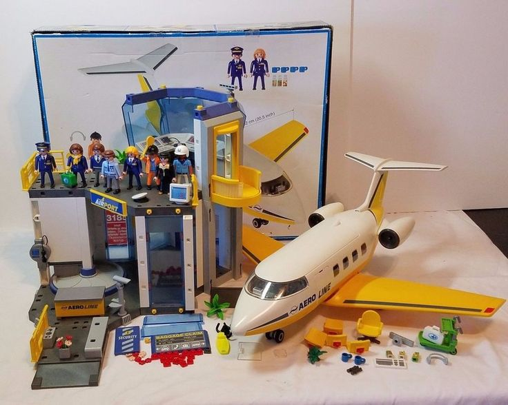 Playmobil Lot Airplane Airport Jumbo Jet Plane Terminal Figure 3186 3185 Toy Set Playmobil