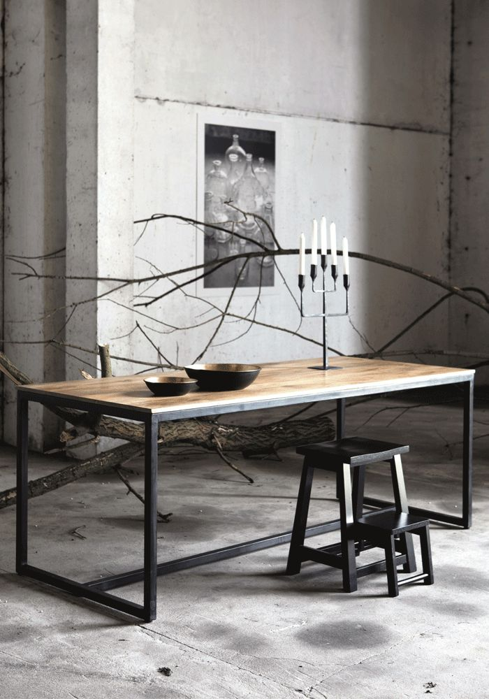Could teak chairs go with this table #industrial #midcentury