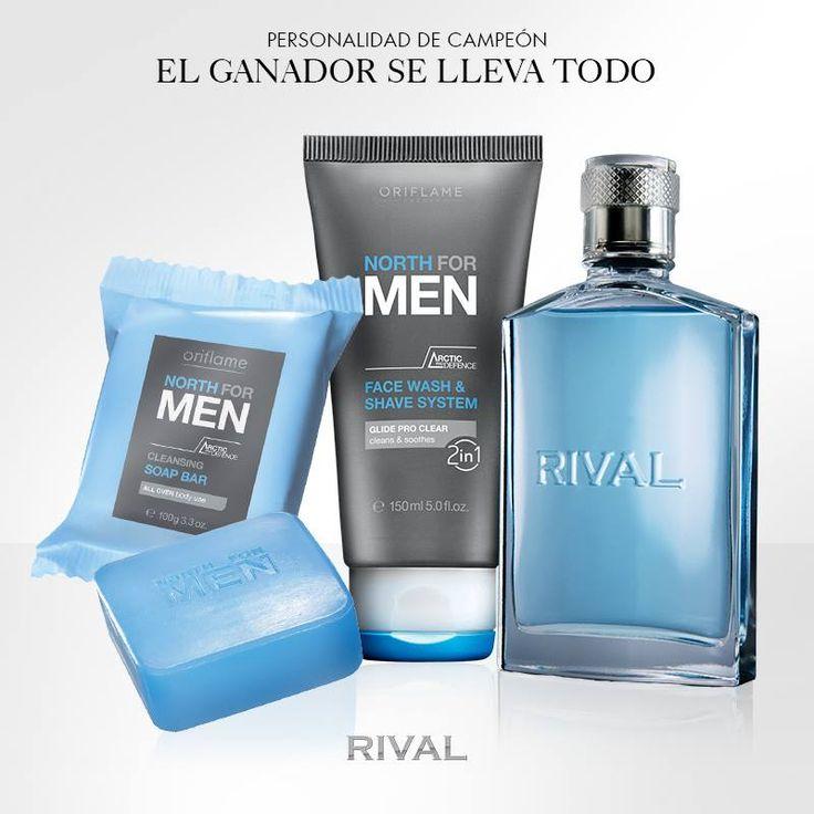 ¿Necesitas el #regalo perfecto para un hombre? Rival es una #fragancia sofisticada con notas cítricas y viene con un jabón en barra y un gel de limpieza facial y #afeitado North for Men. ¡No te lo pierdas!