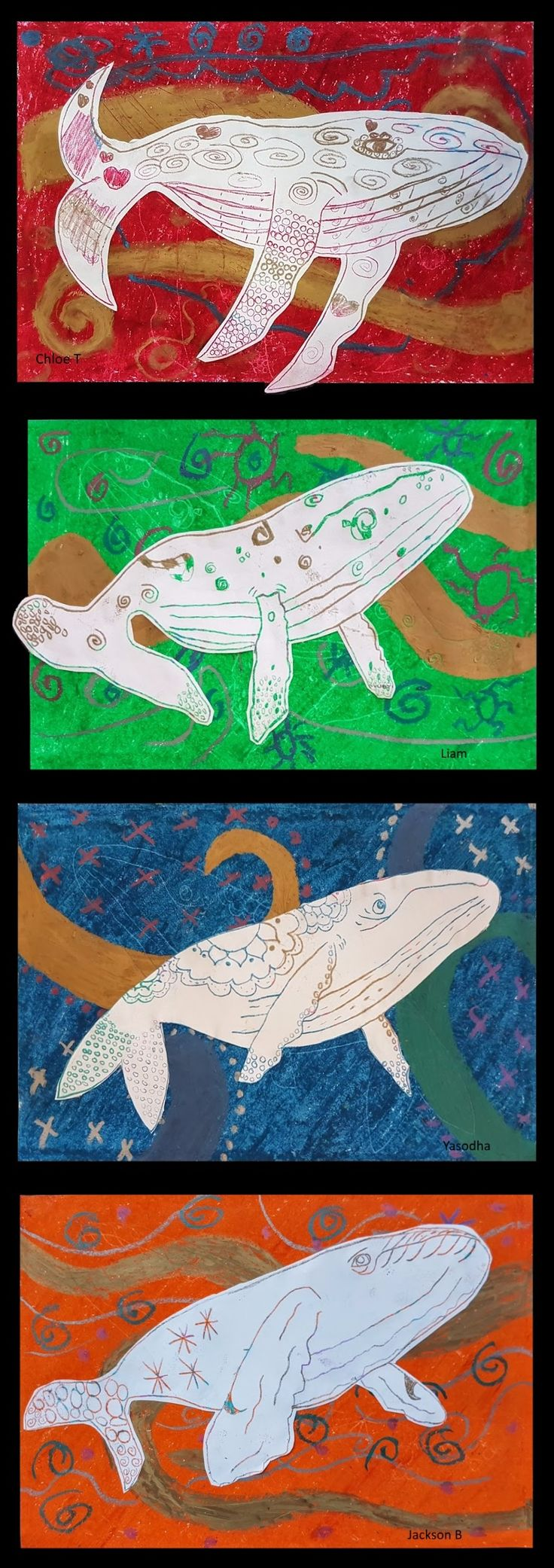 July 2017: A Whale of A Time With Migaloo. Oil pastel transfer.