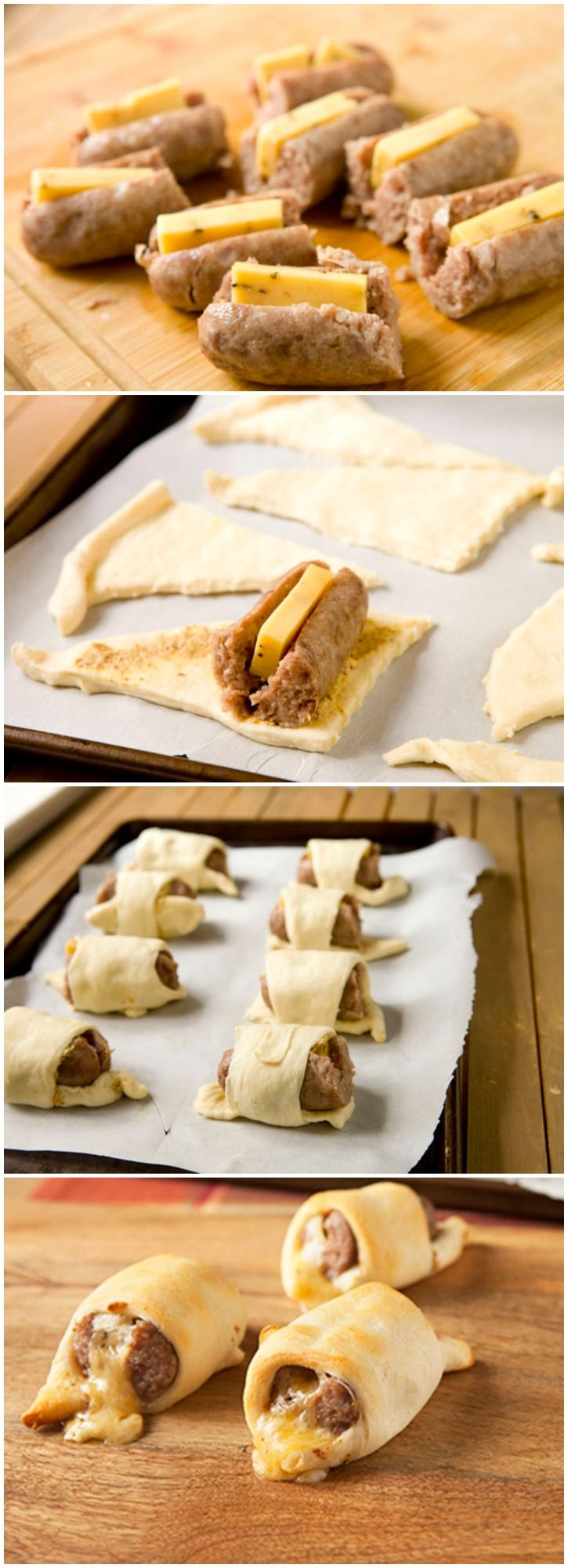 Cheesy Crescent {Brat} Dogs ~ They are cheesy and meaty and the crescent rolls are a perfect soft and flaky wrapper.