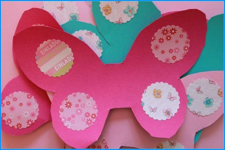 3 einladungskarten kindergeburtstag basteln schmetterling