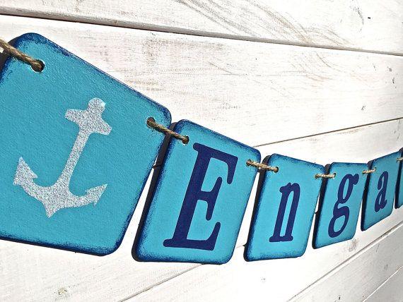 ENGAGED banner anchor banner nautical wedding by RedBirdBanners