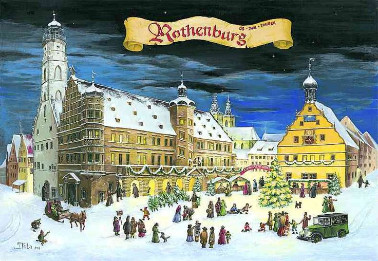 "Rothenburg Advent Calendar. From Brück and Sohn (Printers in Meissen, Germany since 1793) a charming Advent Calendar of the Christmas market in the walled city of Rothenburg, Germany. This delightful advent calendar is 10"" x 15"".   Made in Germany. For this and many more Advent Calendars shop > www.mygrowingtraditions.com"