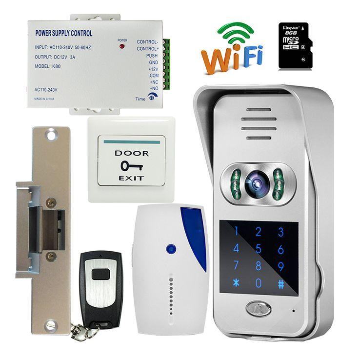 Envío Gratis Nueva Impermeable Código/Teclado Inalámbrico Wifi 720 P Timbre Video Portero para Android IOS Golpe Door lock + 8G TF