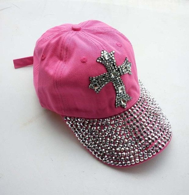 2014 New 8 colors Retail Diamond Point Cross cowboy denim caps Crosses women baseball cap girls Hat rhinestone print